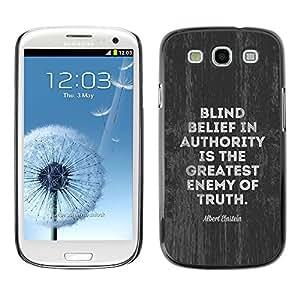 Autoridad Enemigo Verdad Movimiento Político- Metal de aluminio y de plástico duro Caja del teléfono - Negro - Samsung Galaxy S3
