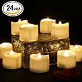 24 Pcs Flameless Led Tealights Electric Battery Operated Realistic and Bright Flickering Fake Candles,Warm White