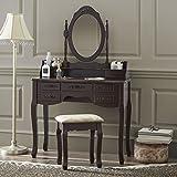 Fineboard HFB-VT03-BN Stool Makeup 7 Organization Drawers Single Oval Mirror Make up Vanity Table Set, Brown