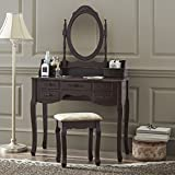 corner makeup vanity set Fineboard Vanity Set with Stool & Mirror Makeup Table with 7 Organization Drawers Single Oval Mirror Make Up Vanity Table Set, Brown