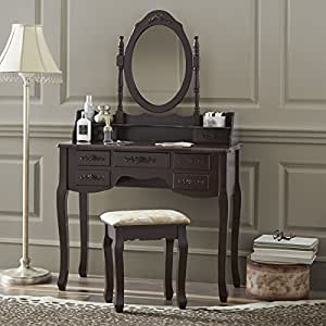 Amazon Com Fineboard Vanity Set With Stool Amp Mirror