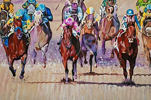 - 2015 KENTUCKY DERBY - Fine Art Giclee Print 12 x 18 Inch from Original Acrylic Horse Racing Painting of Triple Crown Winner American Pharoah
