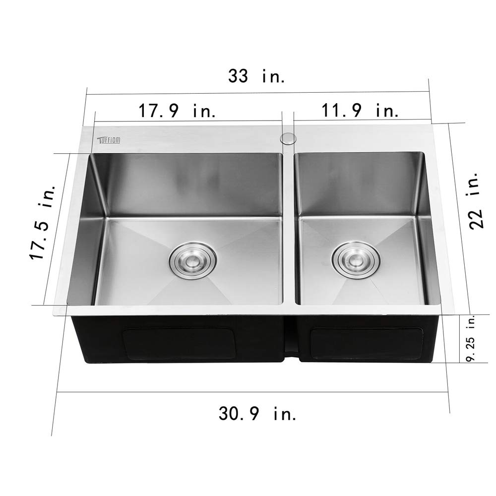 Tuffiom Topmount 33-inch Double Bowl 16 Gauge Stainless Steel Kitchen Sink w/Strainer, Scratch Protector Grid & Adjustable Dish Tray, Noise Reduction