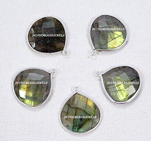 Natural Labradorite Blue Flash Faceted Heart Shape 20 mm 925 Silver Plated Bezel Single Bail Charm Pendant 5 Pcs. Lot Sale.