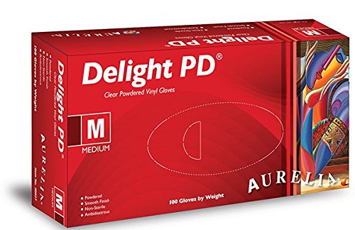 200 x Aurelia Delight Clear Vinyl PD Powdered Gloves Size MEDIUM Strong Disposable Gloves M