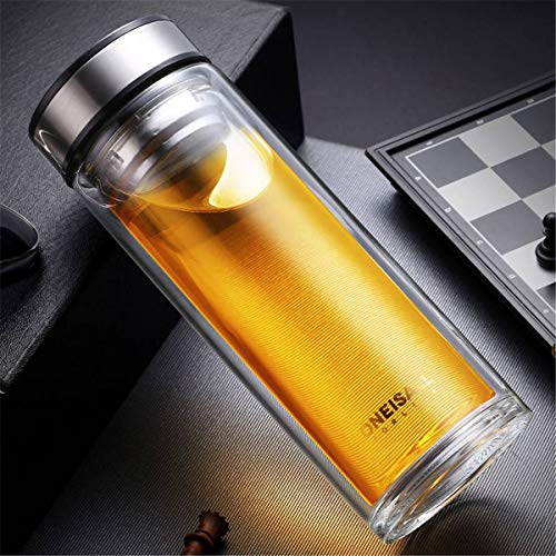 TOYECOTA - 500ML Double Layer Glass Water Bottles for Dink Tea Infuser Business Tea Transparent Water Bottle for Water Portable Bottle Cup