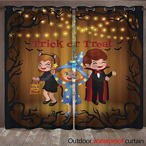 RenteriaDecor Outdoor Curtains for Patio Sheer Happy Halloween Set of Cute Cartoon Children in Colorful Halloween Costumes W108 x L84]()