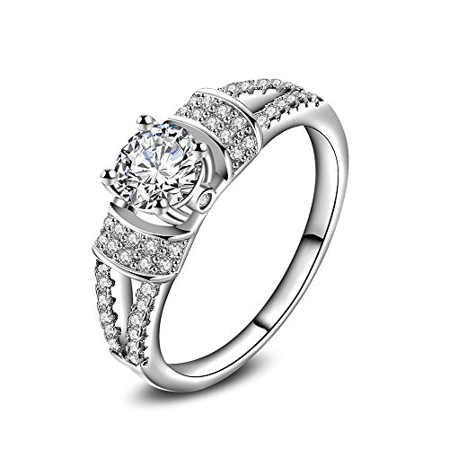 (skyllc Personalized Fashion Jewelry Simulated Diamond Halo White Cubic Zirconia Eternity Ring for Lady)