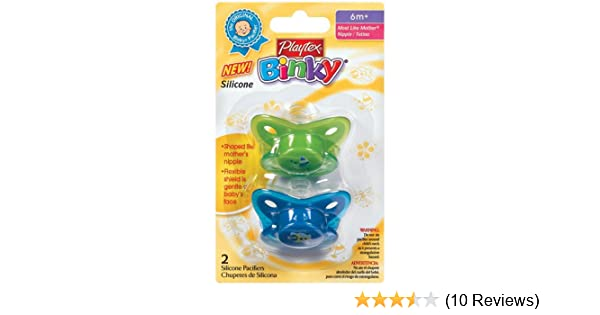 Playtex Baby Binky Silicone Older Baby Pacifier, 6 Months and above, Colors May Vary (Discontinued by...