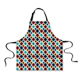 iPrint Personality Apron,Geometric,Grunge Colorful Mosaic Diagonal Artsy Squares Frame with Crystal Effects Image Decorative,Multicolor,Picture Printed Apron.29.5''x26.3''