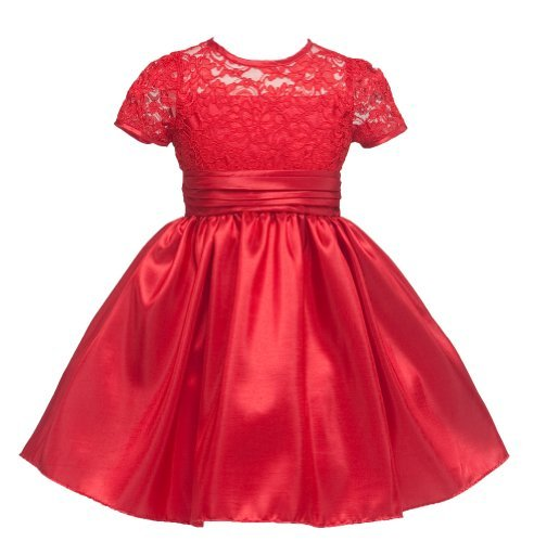 KID Collection Girls Lacey Party Dress 4 Red (kid 1216)