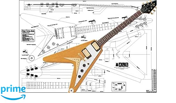 amazon com: plan of gibson flying v korina electric guitar - full scale  print: musical instruments