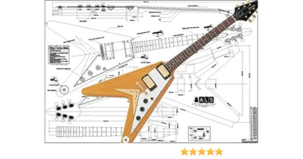 amazon.com: plan of gibson flying v korina electric guitar - full scale  print: musical instruments  amazon.com