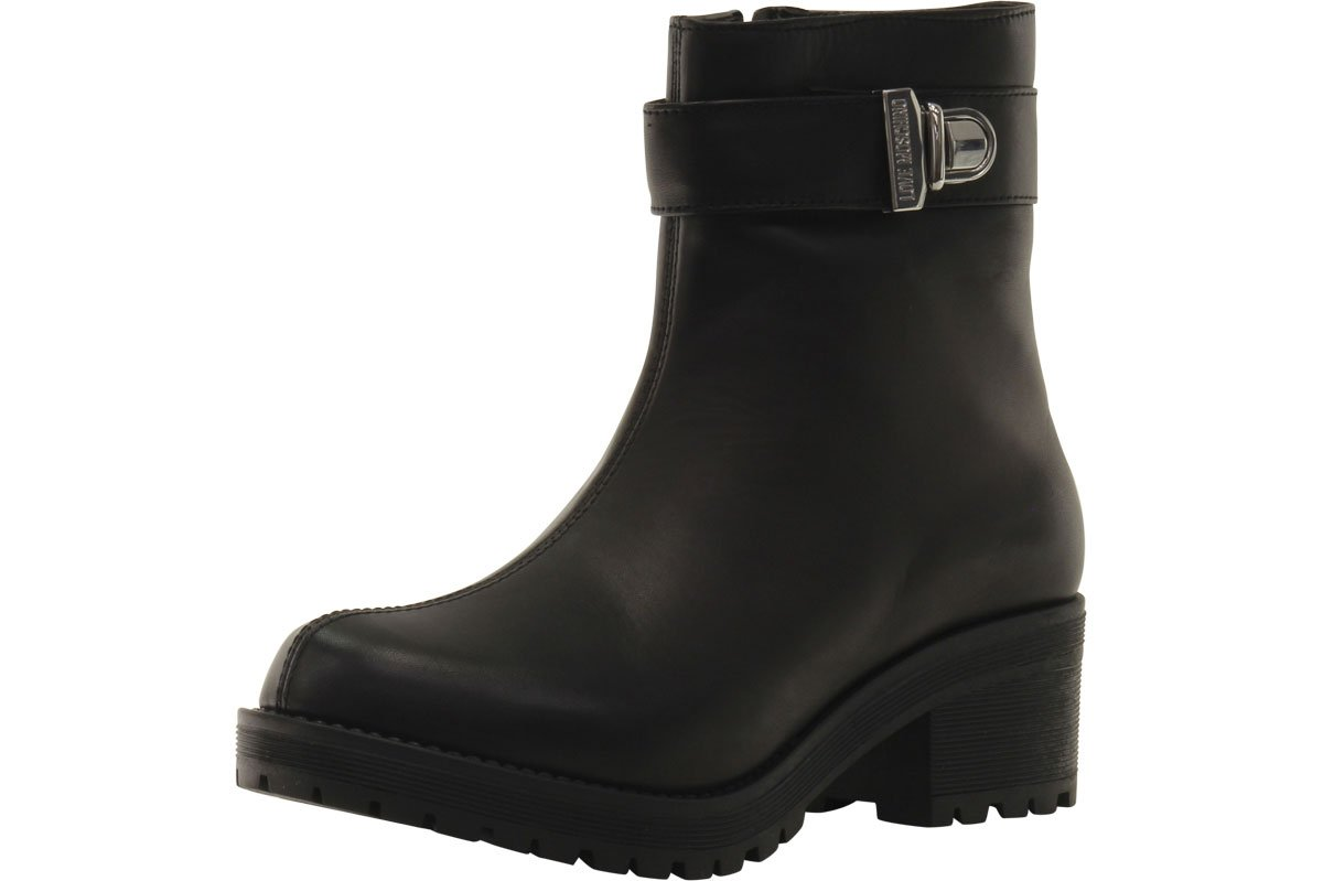 Love Moschino Women's Zipper Black Ankle Boots Shoes Sz: 9