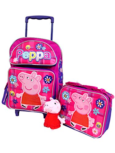 "Peppa Pig Large 16"" Rolling Backpack Roller Book Bag, Lunch Box & 7"" Clip On Plush Doll"
