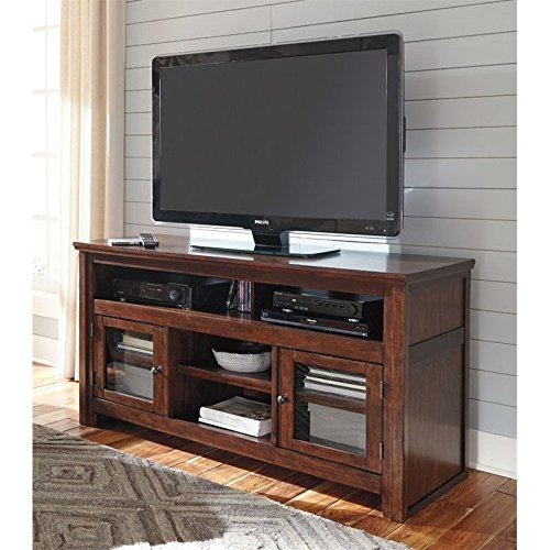 Ashley Harpan W797-38 60″ TV Stand Rta Including 4 Shelves and 2 Doors with Adjustable Shelf Hole(s) for Wiring and Molding Detail in Reddish