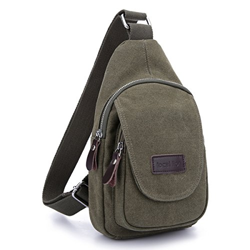 Canvas Single Shoulder Chest Package Bag - Army Green
