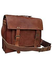 RK 18 Inch Retro Goat Hunter Leather Laptop Messenger Bag Office Briefcase College Bag