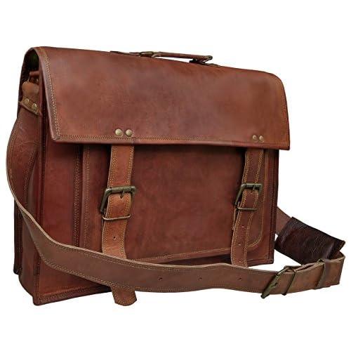 Discount 18 Inch Leather Messenger Bags For Men Women Mens Briefcase 17 Inch Laptop Bag Best Computer Shoulder Satchel School Distressed Bag supplier