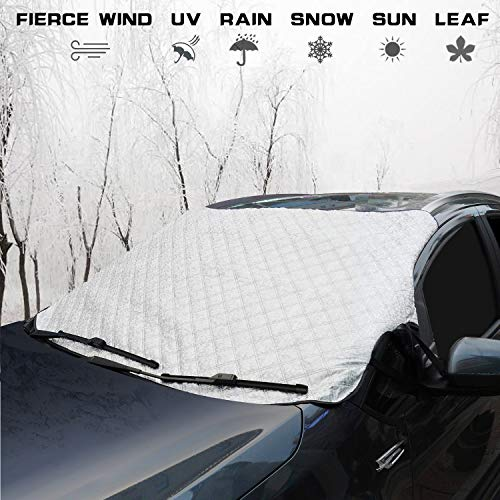 Fullive Universal Windshield Snow Cover Car Windscreen Cover Windshield Protector with Elastic Band & Anti-Theft Design for All Weather & Season