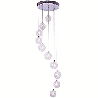2 M Hohe 10 Leuchten Aluminium Draht Glas Kugeln Treppe