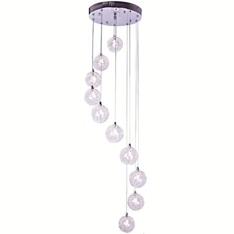 Lámpara de techo de bolas de cristal y alambre de aluminio ...