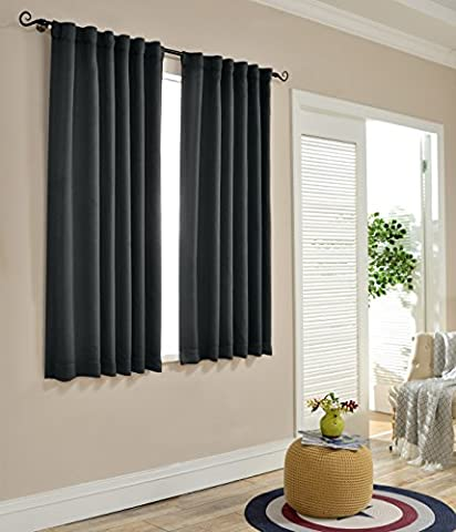 Mysky Home Thermal Insulated Blackout Back Tab and Rod Pocket Curtains for Kids Bedroom, 52 x 63 Inches, Dark Grey (2 Panel (Eclipse Kids 63)