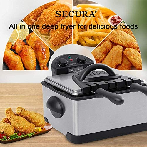 Secura 1700-Watt Stainless-Steel Triple Basket Electric Deep Fryer with Timer Free Extra Odor Filter, 4L/17-Cup 51hM24V2GgL