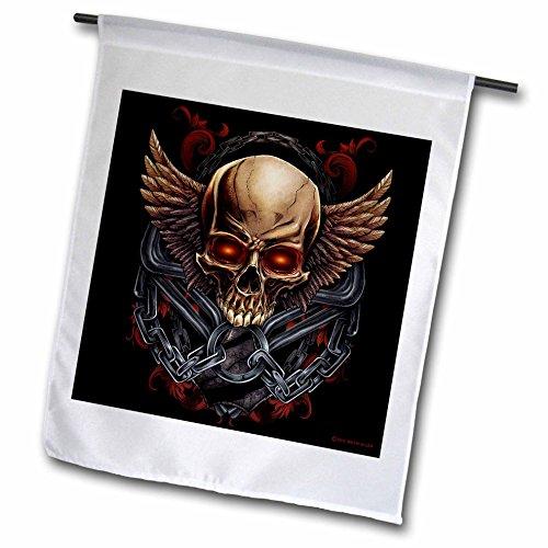 3dRose Dark, illustration, graphic design - Skull with wi...