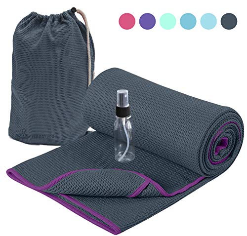 Heathyoga Non Slip Yoga Towel, Exclusive Corner Pockets Design, Microfiber and Silicone Coating Layer, Free Carry Bag and Spray Bottle, Perfect for Hot Yoga, Bikram and Pilates (72