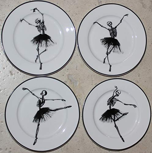 Ciroa Halloween Wicked Dancing Skeleton Canape/Dessert Plates - 5-3/4