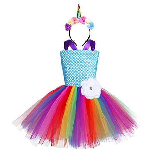 YiZYiF Girls Inspired Unicorn Outfit Birthday Tutu Party Dress with Unicorn Hair Hoop Ballet Costumes Blue Flower 5-6