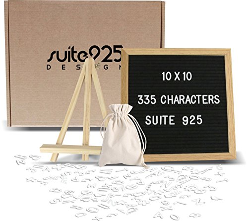 Letter Board - Changeable Felt Letter Board 10x10 inch Wooden Message Board Sign with 335 Letters Numbers Emoji's Oak Wood Frame Mounting Hook Canvas Bag Bonus Wood Stand, Easel Perfect Gift - Home Office Suite