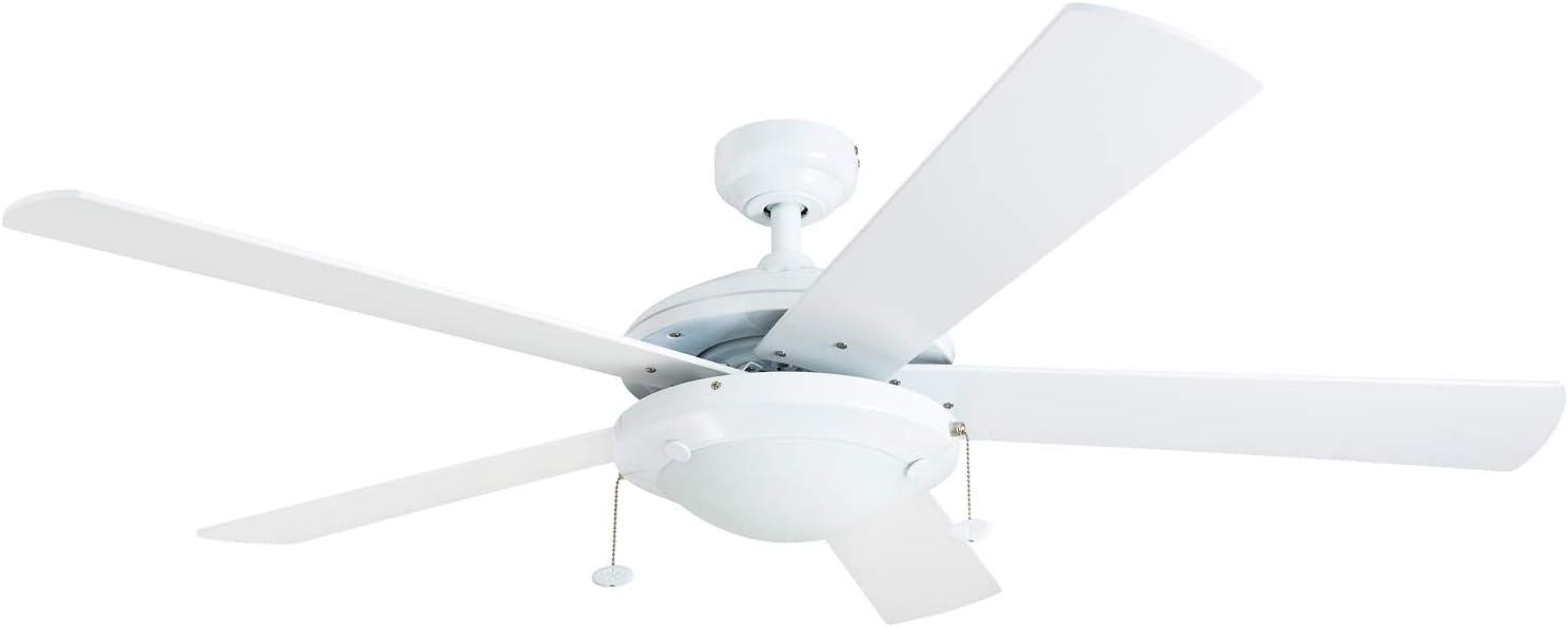 "Prominence Home 80101-01 Bolivar LED Ceiling Fan, Modern Farmhouse, 52"" Dual-Finish Blades, White"