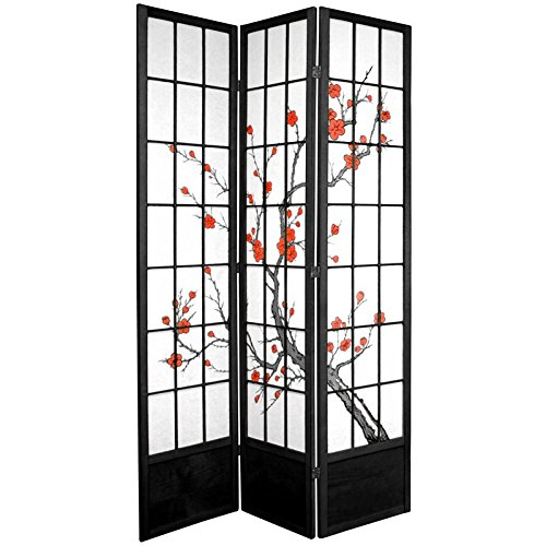 Oriental Furniture 7 ft. Tall Cherry Blossom Shoji Screen - Black - 3 Panels (Lamp Floor Paper Cherry)