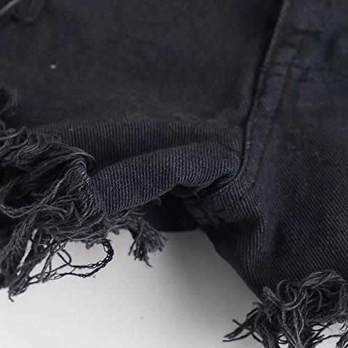 Short Femme Youthny Trous Jean avec en Casual Noir HnxgvB