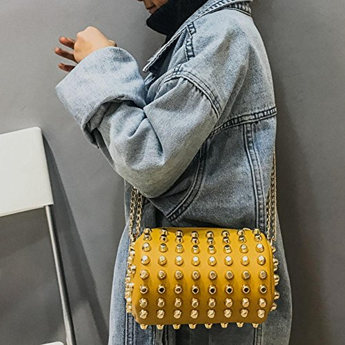 Handbag Everpert Yellow Bag Cylinder Wallet Girl Women Kids Messenger Chain Rivets Shoulder UtqrFwtg