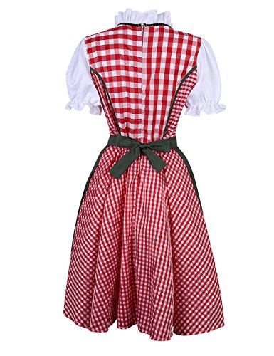 lunga In Vestiti abbigliamento Yiwa La Rosso Plaid 34 bavarese oktoberfest 42 gonna vestito per donna donna 1xwdw6v