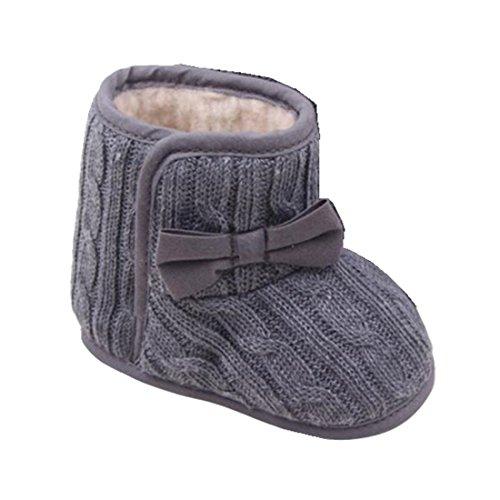 Ularmo Schuhe für 3-12 Monate Baby, Bowknot-weich Sohle Winter warme Schuhe Boots (11cm(3-6 Monate), Grau)