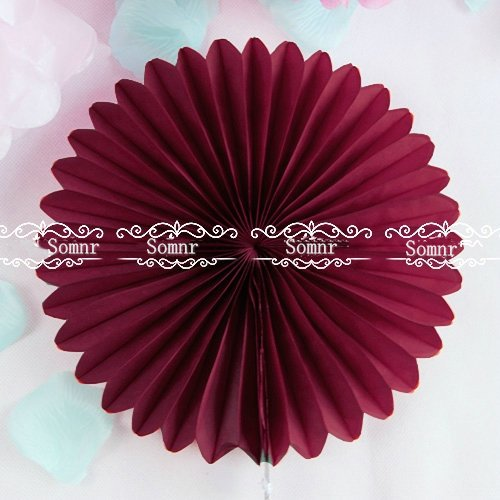 Somnr Pack of 5pcs 16 inch Tissue Paper Fans Paper Flower Tissue Fan Decoration Party Wedding Baby Shower Decoration (Wine)