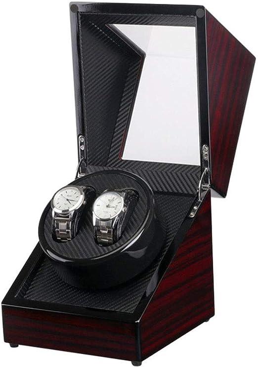 Cajas para relojes Motor eléctrico caja de ébano pintura por dentro fibra de carbono eléctrico de la coctelera de cuerda automática cajas de reloj Para tienda en casa (Color : Black ,
