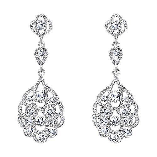 BriLove Women's Wedding Bridal Crystal Rhinestone Beaded Clip-On Dangle Earrings Clear Silver-Tone