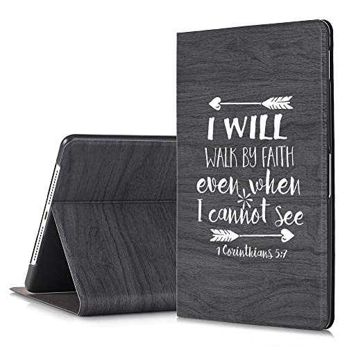 [Inkmodo] - Black Slim Tree Texture Stand Case for iPad Pro 11 - I Will Walk by Faith Corianthians Bible Verse Christian Quote - Design Printed Full Protective Cover with Two Angle Stand. (Pro Vers)