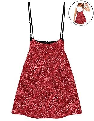 RARITY-US Women's Mini Suspender Super Shiny Sequins Skirt High Elastic Waist Dress
