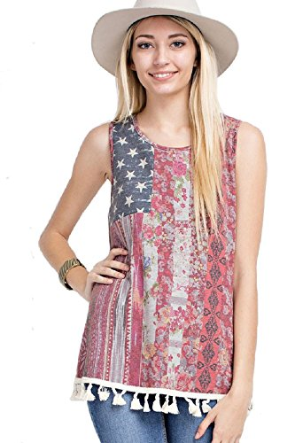 Sleeveless American Flag French Terry Top with Fringe Detail (Large)