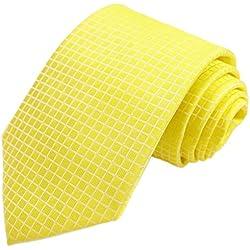 KissTies Sunflower Yellow Ties Check Necktie Lemon Tie + Gift Box