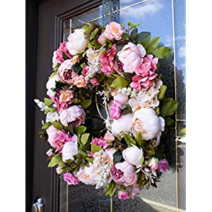 """Red Co. 16"""" Lovely Peony, Artificial Spring & Summer Wreath, Door Backdrop Ornaments, Home Décor Collection 2"""