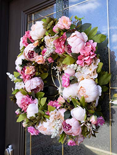 Red-Co-16-Lovely-Peony-Artificial-Spring-Summer-Wreath-Door-Backdrop-Ornaments-Home-Dcor-Collection