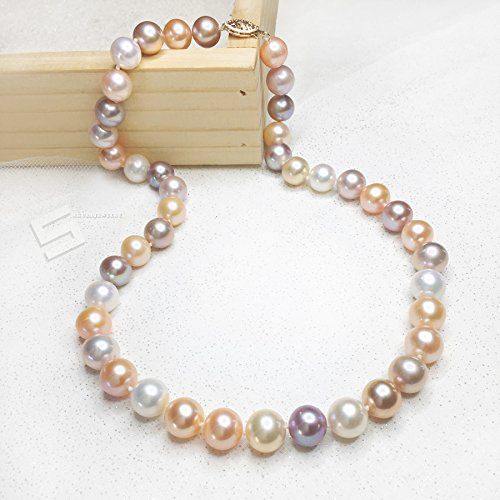 10-11MM Multicolored Pearls And Gold Necklace, AAA Grade Freshwater Cultured Pearls In 14KT Solid Gold Necklace, Fine Pearl Jewelry by Sakura Jewelry