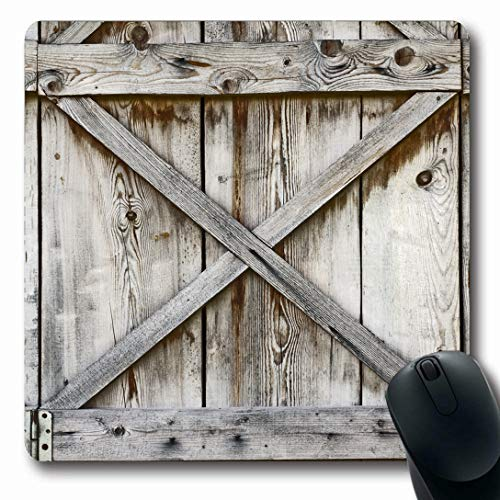 (Ahawoso Mousepads for Computers Door Plank Wooden Wall Old History Barn Abstract Wood Hinges Rustic Shed Oblong Shape 7.9 x 9.5 Inches Non-Slip Oblong Gaming Mouse Pad)